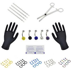 20 Stücke Werkzeug Menschlicher Körper Kit Piercing Modeschmuck Nadeln Einw HH