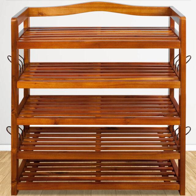 deuba etagere a chaussures en bois d acacia 5 etageres 105380