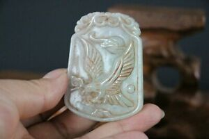 Genuine Jadeite Emerald Jade Pendant Netsuke Fly Eagle , Ruyi & AUSPICIOUS