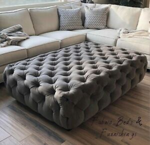 details about large made to order chesterfield fabric upholstered coffee table seat footstool