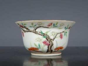 Rare Beautiful Chinese Porcelain Cup-Flowers-19
