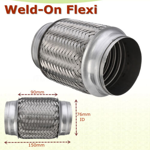 auto parts accessories exhaust flex pipe stainless steel double braid 3 x 6 76 x 150mm w ends flexi auto parts and vehicles