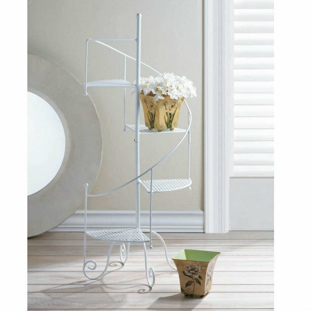 White Iron Spiral Staircase Plant Stand For Sale Online | Used Spiral Staircase For Sale | Vertical | Exterior | Contemporary | Wrought Iron | Curved