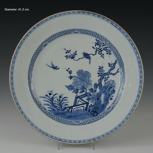 Nice very large Chinese B&W porcelain charger, birds & flowers, 18th century