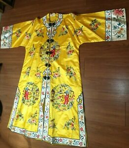Vintage Chinese Golden Bee Silk Embroidered Fully Lined Robe/Kimono Sz M