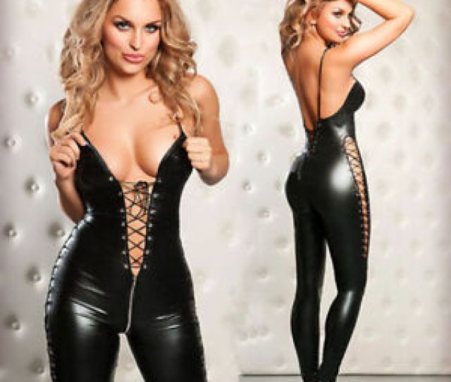 Image Is Loading Sexy Pvc Lingerie Catsuit Catwoman Party Fancy Dress