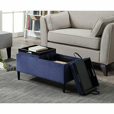 storage ottoman coffee table blue upholstery reversible tray top living room ebay