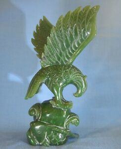 Vintage Chinese Green Jade Eagle On A Rock Carp Fishing