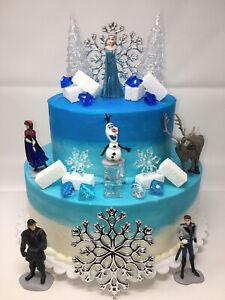Frozen Birthday Cake Topper Set Featuring Elsa Olaf Anna Kristoff Sven Hans Ebay