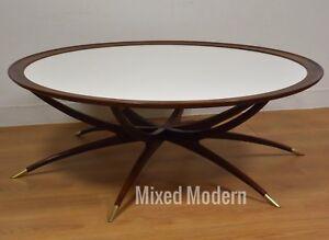 details about danish spider leg round coffee table mid century modern white walnut