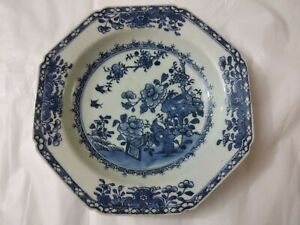 Antique Chinese 18th C Qianlong Blue & White Dish With Floral Decoration