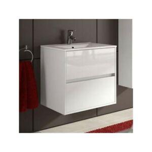 Meuble De Salle De Bain Toilette 70 Cm Suspendu Avec Evier Lavabo Vasque Blanc Ebay