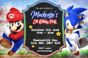 Personalisierte Sonic The Hedgehog Und Super Mario Einladungen Inkl Umschlage Sm1 Ebay