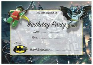 details about 1 x lego batman childrens blank fill in diy birthday invitations free magnets