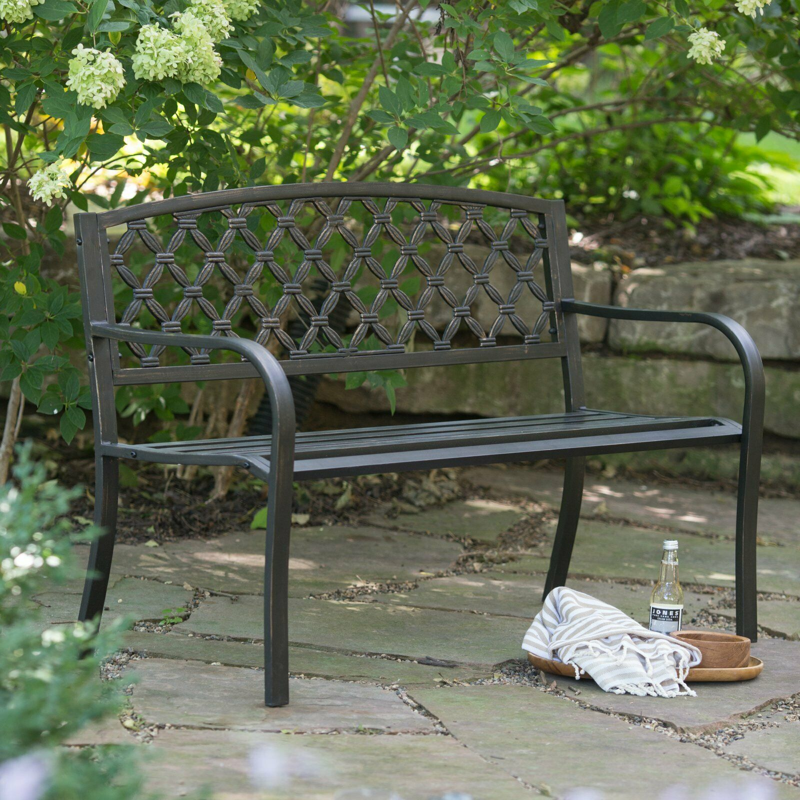 Weathered Black Metal Outdoor Bench Woven Patio Porch Garden Modern 4 Foot For Sale