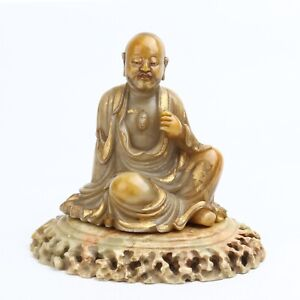 Antique Chinese Gilt Shoushan Stone Luohan Statue with Stand