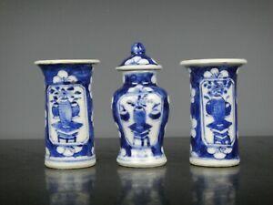 Very Nice Three Chinese Porcelain B/W Miniature Vases&Lid-Flow