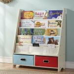 Seirione New Kids Book Rack 4 Sling Bookshelf 2 Storage Boxes And Toys Organizer