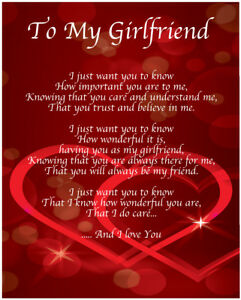 To My Girlfriend Poem Birthday Christmas Valentines Day
