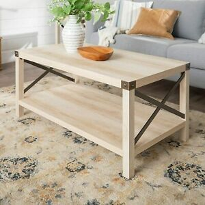 details about rustic modern farmhouse metal and wood rectangle accent coffee table living room