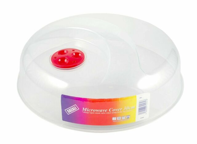 2 x large microwave food cover plate splash guard clear plastic lid vented 30cm