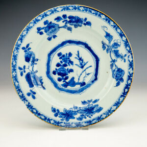 Antique Chinese Porcelain - Blue & White Oriental Flowers Plate - Early!