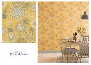 details sur arthouse vintage bloom jaune moutarde floral blanc papier peint 676206 echantillon seulement afficher le titre d origine