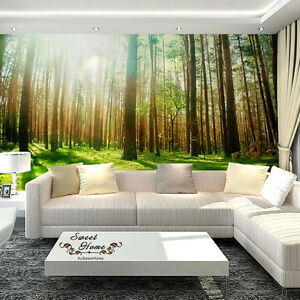 Green Forest Sunshine Full Wall Mural Wallpaper Print Decal Indoor     Image is loading Green Forest Sunshine Full Wall Mural Wallpaper Print