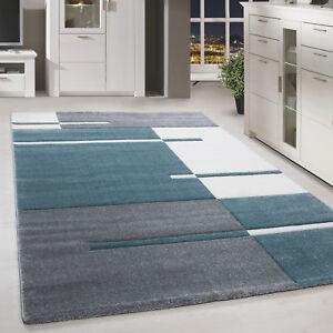 details sur a poils ras tapis design coupe contour motif moderne tapis salon bleu blanc