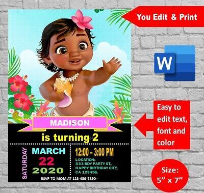 moana baby birthday party invitation template editable printable digital docx ebay