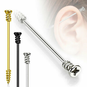 Autiga® Industrial Stab Piercing Ohr Stecker Schraube Screw Straight Barbell