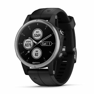 Garmin fenix 5S Plus 42mm Glass Multisport GPS Watch Silver/Black Band