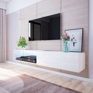 details sur larka meuble tv suspendu avec led 200 cm blanc noir moderne