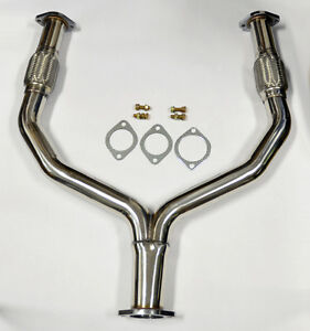 details zu y pipe catless straight downpipe exhaust fits nissan 370z infiniti g37