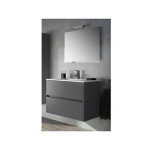 Meuble De Salle De Bain Toilette 90 Cm Suspendu Avec Evier Lavabo Vasque Gris A Ebay