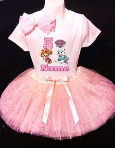 Paw Patrol Skye 5th Birthday Dress With Name Party Tutu Outfit Ebay