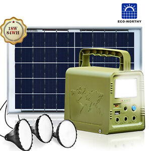 84 W·h Solar Panel Power Generator Kit, Portable Power Station 3 LED Solar Lamp