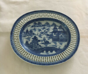 Antique Canton Chinese Export Blue & White Reticulated Porcelain Plate