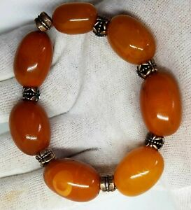 Amber baltic 100% natural old bracelet egg yolk and red colour , bernstein