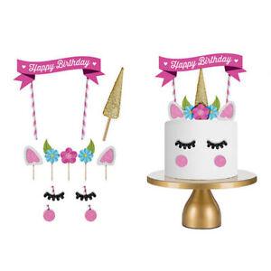 Glitter Unicorn Horn Happy Birthday Cake Topper Banner Decoration Kids Party Diy Ebay