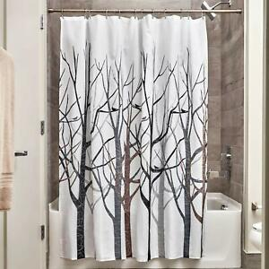 details about new modern winter barren tree brown grey black white fabric shower curtain liner