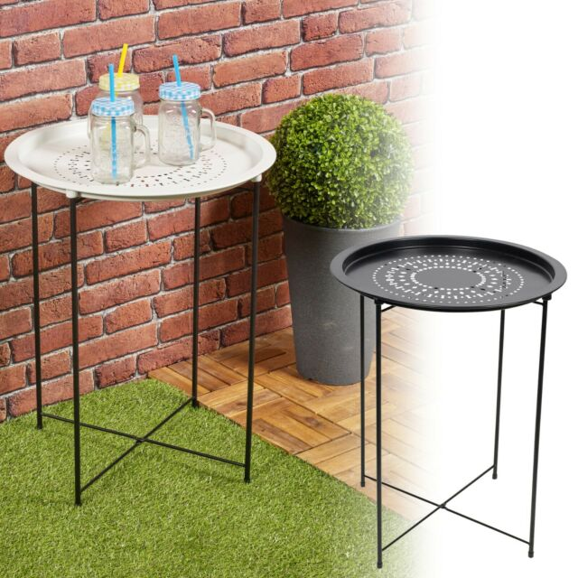 folding metal round bistro coffee table patio indoor outdoor furniture summer