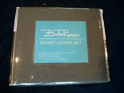 bella russo duvet cover set with buttons pillow shams storm gray new ebay