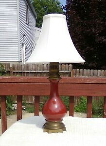 Antique Chinese Sang de Boeuf Desk Lamp 24 inches Tall On Brass Base