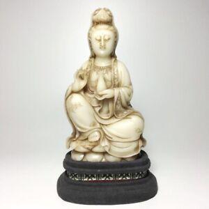 Chinese Antique Milky White Shoushan FuRong Stone Guanyin Kwan-yin Statue