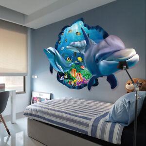 details sur 1pcs sticker autocollant 3d dauphins vue art mural decor enfant chambre amovible