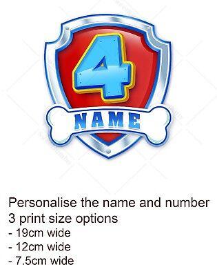 Paw Patrol Badge Logo Cake Topper Personalised Edible Icing Print Ebay
