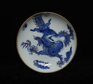 Kangxi Signed Antique Chinese Blue and White Porcelain Dish w/dragon