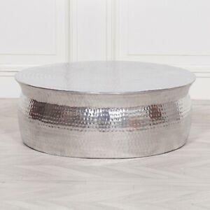 details sur moderne martele aluminium rond tambour table basse lampe plante support argent afficher le titre d origine