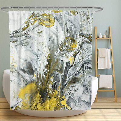 yellow gray abstract marble swirl modern chic pretty fabric shower curtain ebay